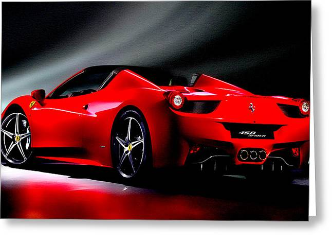 Australian Open Mixed Media Greeting Cards - Ferrari 458 Spider Greeting Card by Brian Reaves