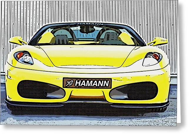 Editorial Paintings Greeting Cards - Ferrari 5 Greeting Card by Lanjee Chee