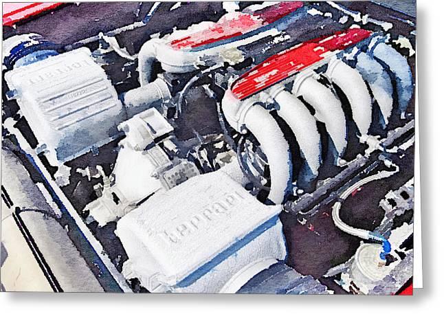 Ferrari 512 Tr Testarossa Engine Watercolor Greeting Card by Naxart Studio