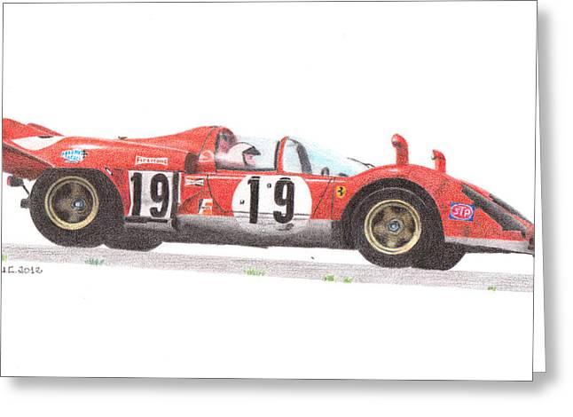 Andretti Greeting Cards - Ferrari 512S Mario Andretti 1970 Greeting Card by Ugo Capeto