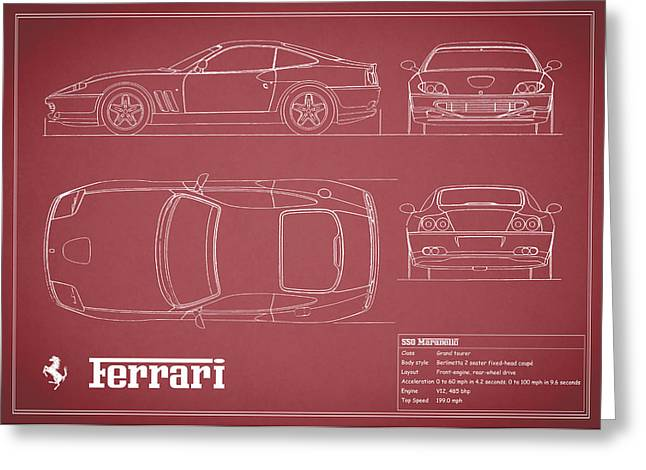 550 Greeting Cards - Ferrari 550 Blueprint - Red Greeting Card by Mark Rogan