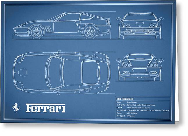 550 Greeting Cards - Ferrari 550 Blueprint Greeting Card by Mark Rogan