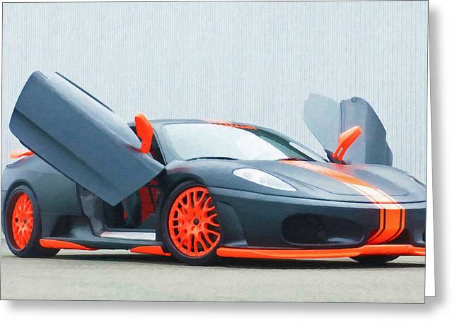Editorial Paintings Greeting Cards - Ferrari 9 Greeting Card by Lanjee Chee