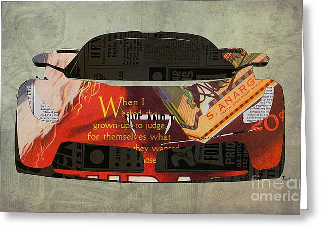 Paper Cut Greeting Cards - Ferrari and the 20 cents Ad Greeting Card by Pablo Franchi