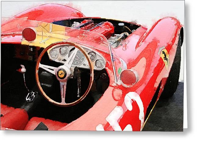 Classic Mixed Media Greeting Cards - Ferrari Cockpit Monterey Watercolor Greeting Card by Naxart Studio