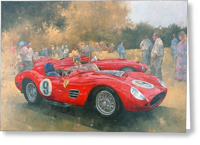 Ferrari, Day Out At Meadow Brook Oil On Canvas Greeting Card by Peter Miller