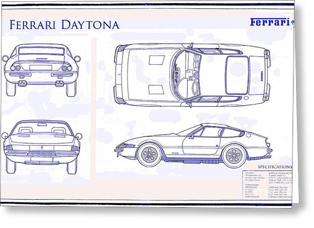 550 Greeting Cards - Ferrari Daytona Blue Print  Greeting Card by Jon Neidert