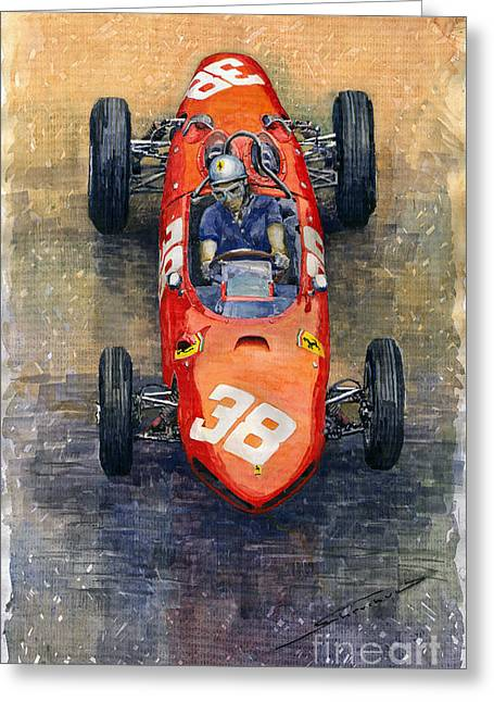 Dino Greeting Cards - Ferrari Dino 156 1962 Monaco GP Greeting Card by Yuriy Shevchuk