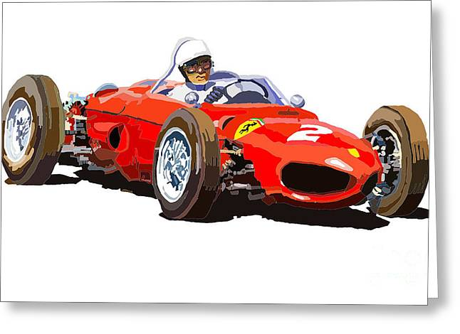 Dino Greeting Cards - Ferrari Dino 156 1962  Greeting Card by Yuriy  Shevchuk