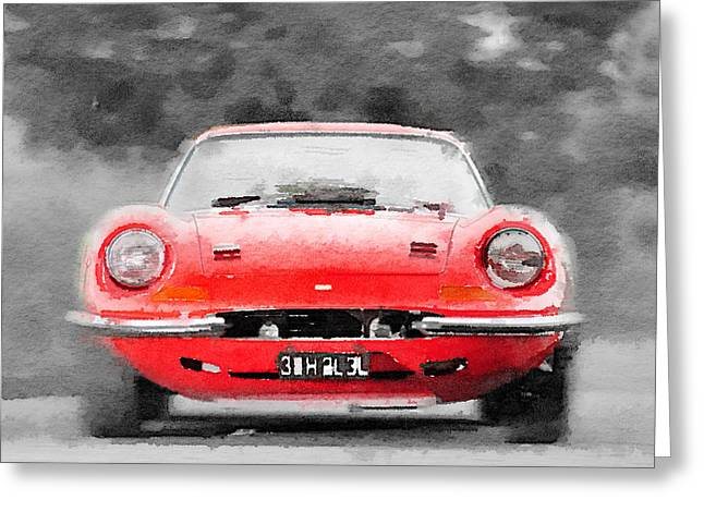 Dino Greeting Cards - Ferrari Dino 246 GT Front Watercolor Greeting Card by Naxart Studio