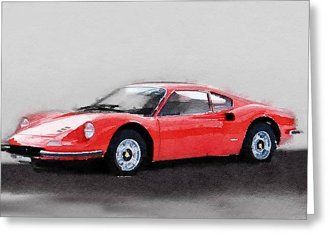 Dino Greeting Cards - Ferrari Dino 246 GT Watercolor Greeting Card by Naxart Studio