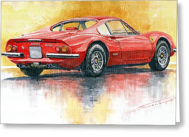 Dino Greeting Cards - Ferrari Dino 246 Greeting Card by Yuriy Shevchuk