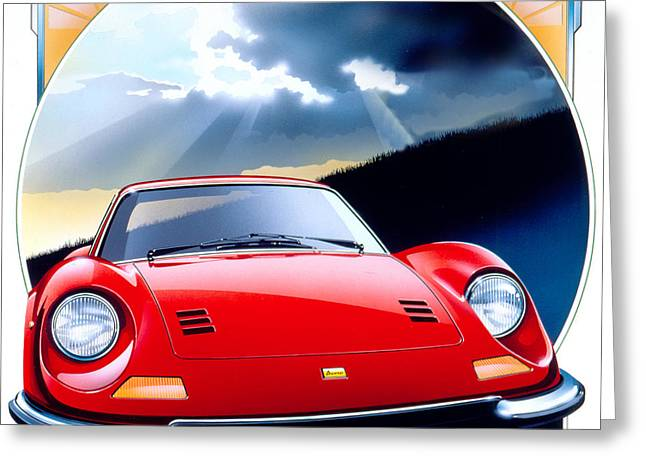 80s Greeting Cards - Ferrari Dino Greeting Card by Gavin Macloud