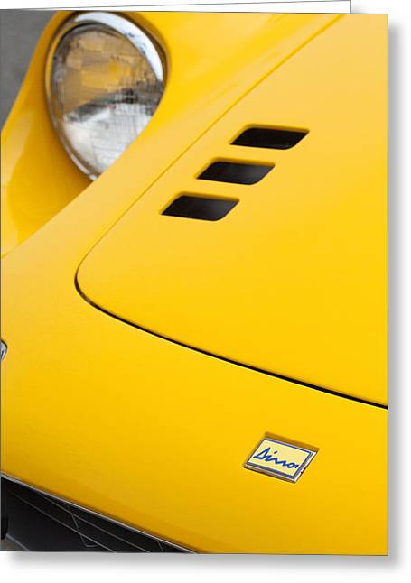 Dino Greeting Cards - Ferrari Dino Hood Emblem 2 Greeting Card by Jill Reger