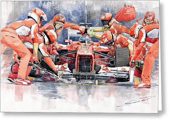 Stop Greeting Cards - Ferrari F 2012 Fernando Alonso Pit Stop Greeting Card by Yuriy  Shevchuk