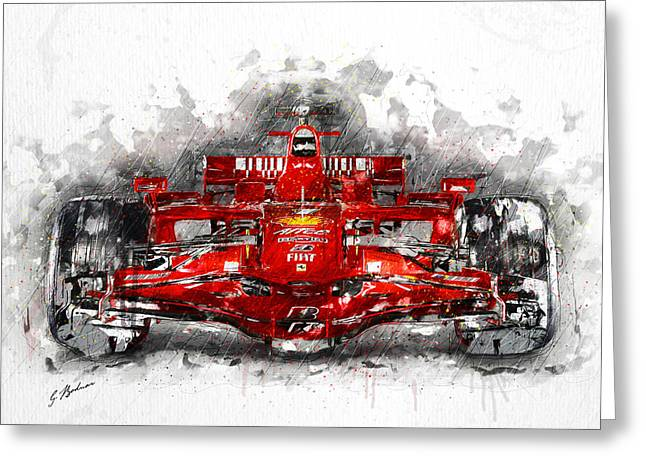 Fast Cars Greeting Cards - Ferrari F1 Greeting Card by Gary Bodnar