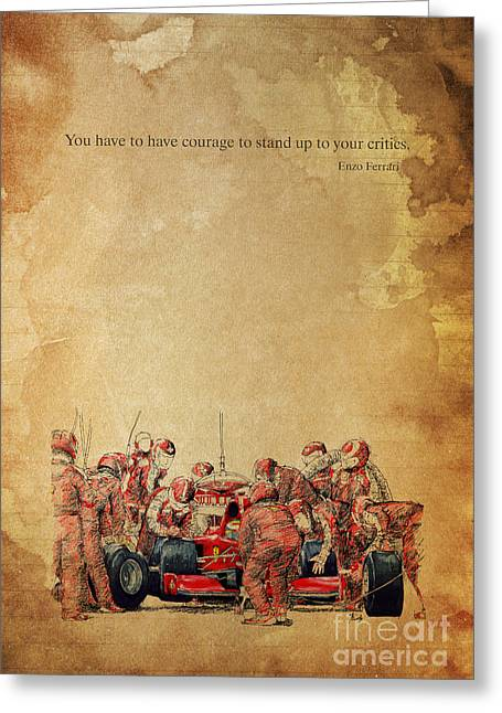 Gift Ideas For Him Greeting Cards - Ferrari F1 pits Greeting Card by Pablo Franchi