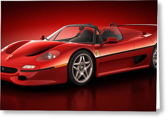Stylish Car Greeting Cards - Ferrari F50 - Flare Greeting Card by Marc Orphanos