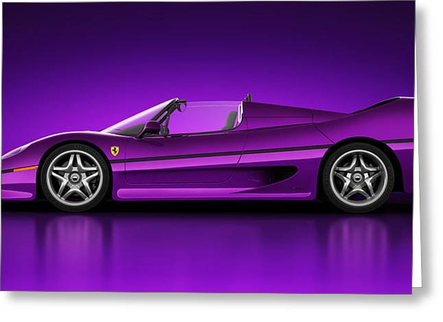 Super Real Greeting Cards - Ferrari F50 - Neon Greeting Card by Marc Orphanos