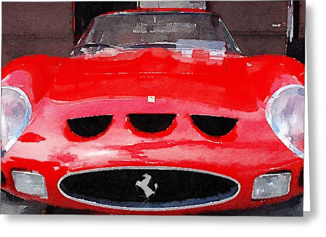Ferrari Gto Classic Car Greeting Cards - Ferrari Front End Monterey Watercolor Greeting Card by Naxart Studio