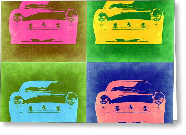 Italian Americans Greeting Cards - Ferrari Front Pop Art 3 Greeting Card by Naxart Studio