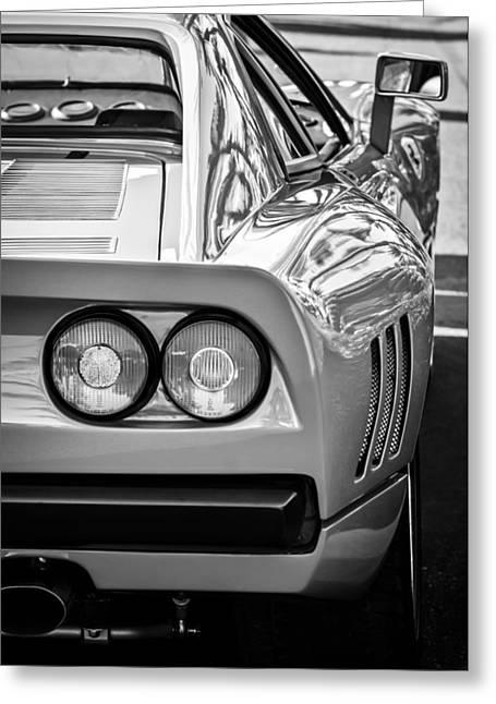 Ferrari Gto Classic Car Greeting Cards - Ferrari GTO 288 Taillight -0631bw Greeting Card by Jill Reger