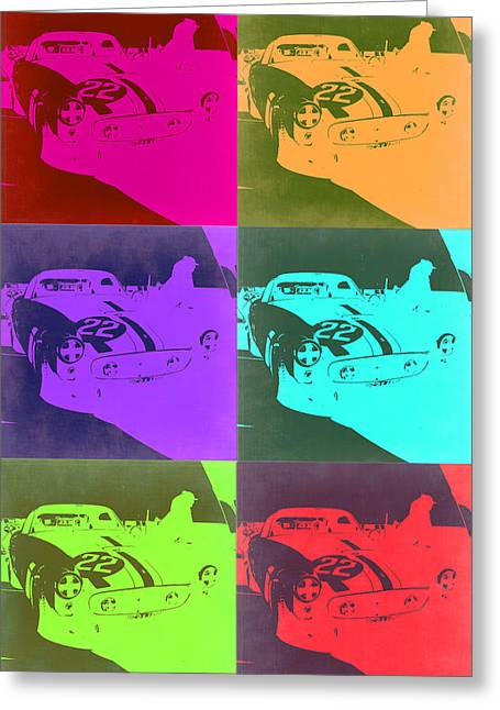 Ferrari Gto Classic Car Greeting Cards - Ferrari GTO Pop Art 3 Greeting Card by Naxart Studio
