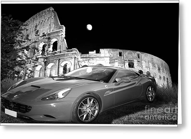 Editorial Mixed Media Greeting Cards - Ferrari in Rome Greeting Card by Stefano Senise