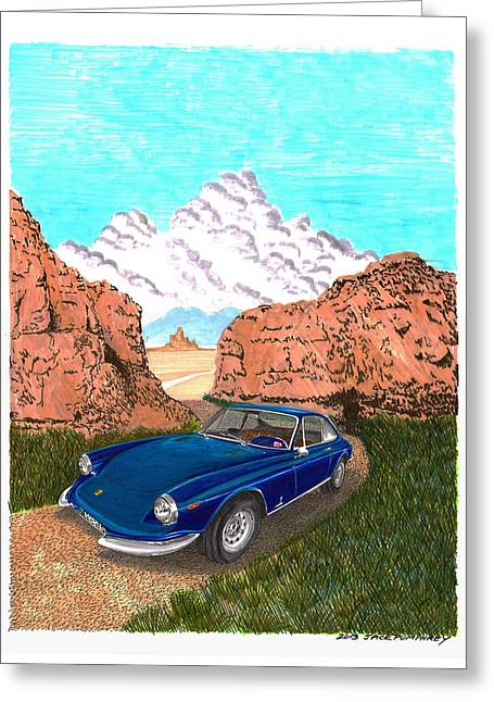 Caracalla Greeting Cards - 1969 Ferrari 365 G T C in the Mountains 1969 365 G T C Greeting Card by Jack Pumphrey