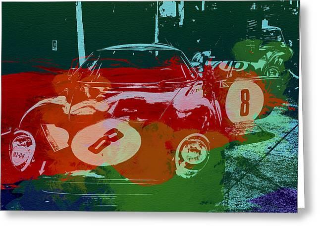 Concept Photographs Greeting Cards - Ferrari Laguna Seca Racing Greeting Card by Naxart Studio