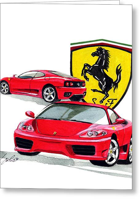 360 Greeting Cards - Ferrari Modena 360 Greeting Card by Yoshiharu Miyakawa
