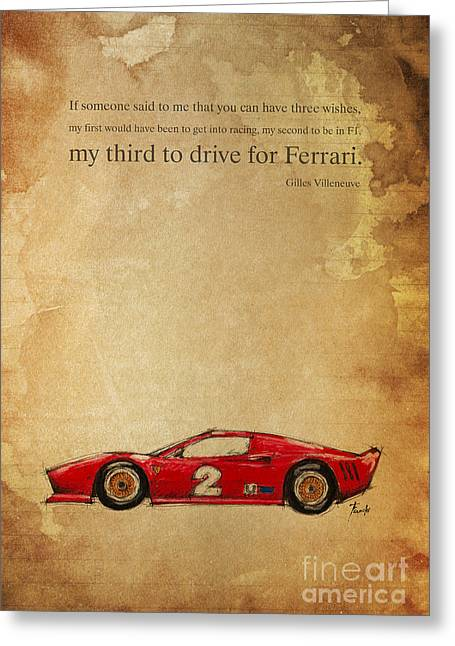 Andretti Greeting Cards - Ferrari Number 2 Greeting Card by Pablo Franchi