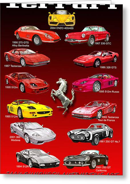Pen And Ink Framed Prints Greeting Cards - Ferrari Poster Art Greeting Card by Jack Pumphrey