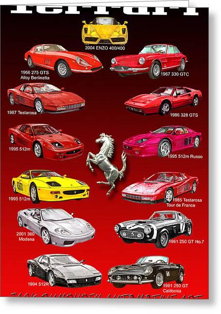 Ferrari Poster Art Greeting Card by Jack Pumphrey