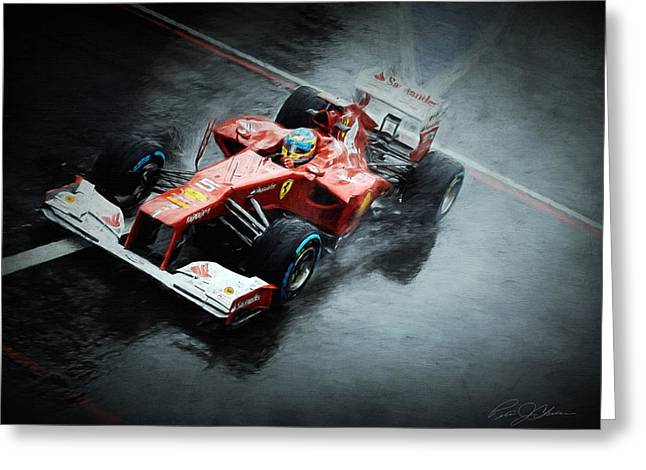 World Champions Greeting Cards - Ferrari Rain Dance Greeting Card by Peter Chilelli