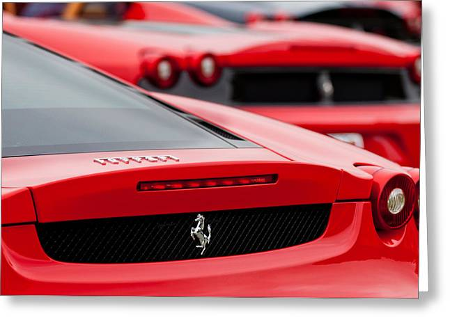 Beach Photograph Greeting Cards - Ferrari Rear Emblems Greeting Card by Jill Reger