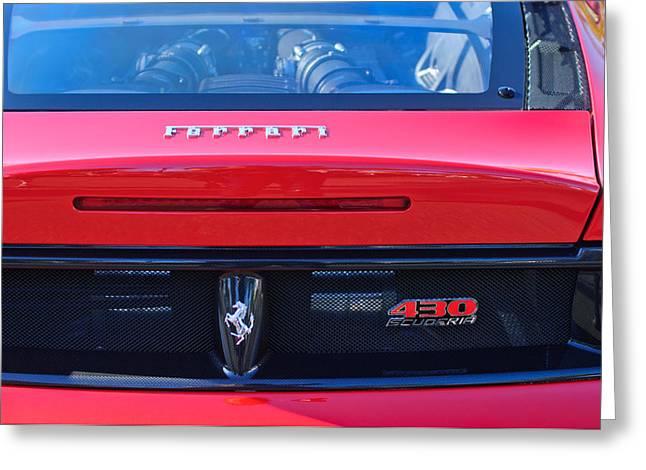 Ferrari Automobile Greeting Cards - Ferrari Scuderia 430 Rear Emblems Greeting Card by Jill Reger