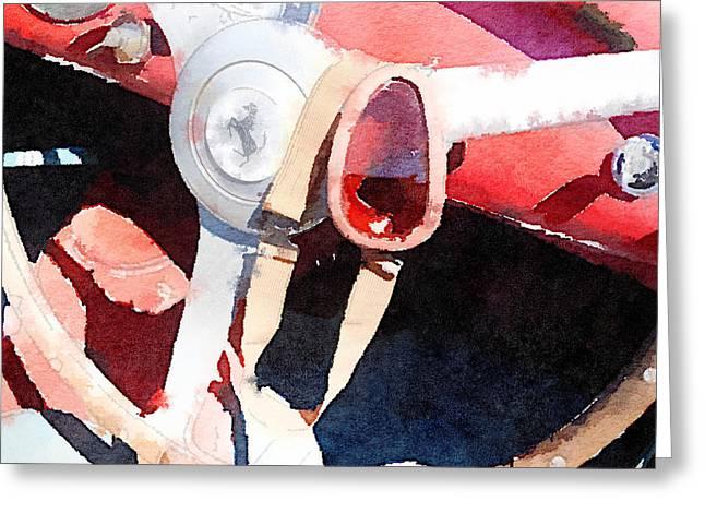 Classic Ferrari Greeting Cards - Ferrari Steering Wheel Watercolor Greeting Card by Naxart Studio