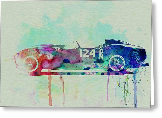 Concept Cars Greeting Cards - Ferrari Testa Rossa Watercolor 2 Greeting Card by Naxart Studio