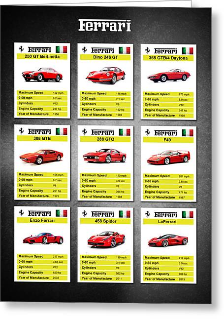 Dino Greeting Cards - Ferrari Top Trumps Greeting Card by Mark Rogan