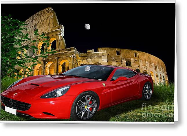 Ferrari Under Colosseum Greeting Card by Stefano Senise