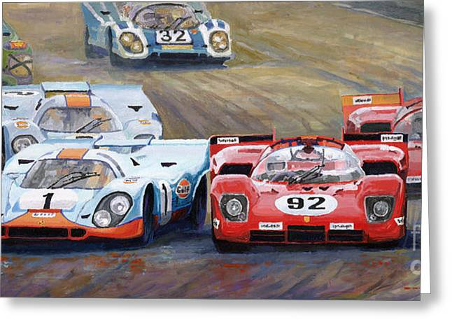 Racing Car Greeting Cards - Ferrari vs Porsche 1970 Watkins Glen 6 Hours Greeting Card by Yuriy  Shevchuk