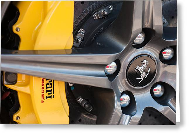Ferrari Wheel - Brake Emblem Greeting Card by Jill Reger