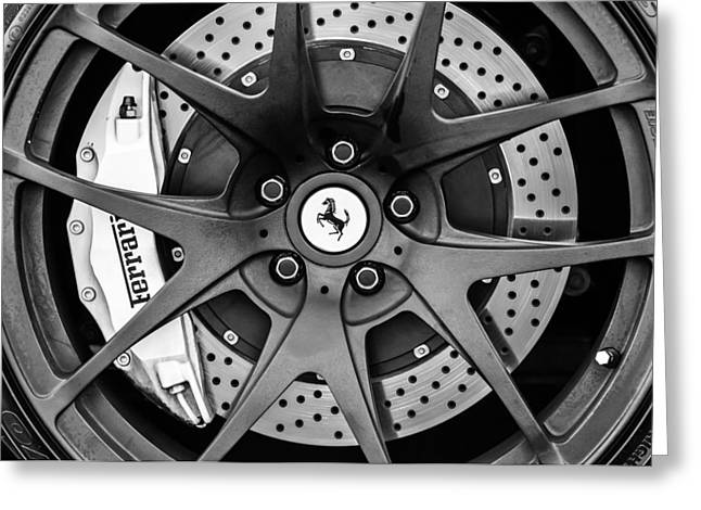 Ferrari Wheel Emblem - Brake Emblem -0430bw Greeting Card by Jill Reger