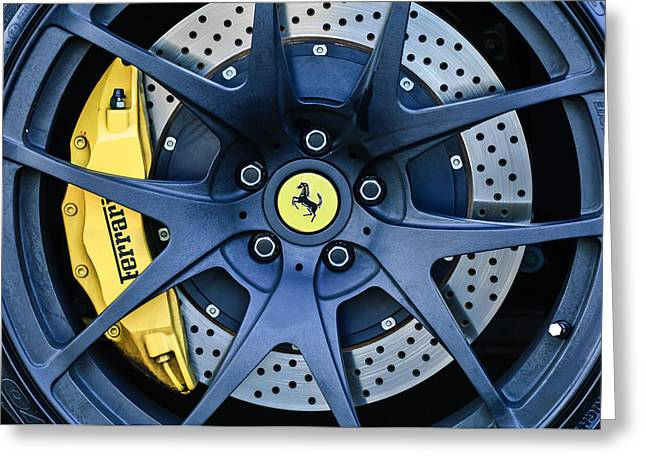 Ferrari Wheel Emblem - Brake Emblem -0430c Greeting Card by Jill Reger