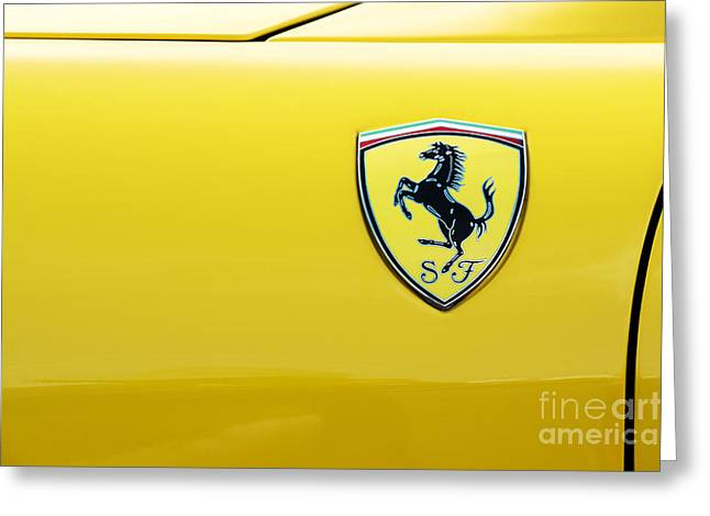 Motor Vehicles Greeting Cards - Ferrari Yellow Greeting Card by Tim Gainey