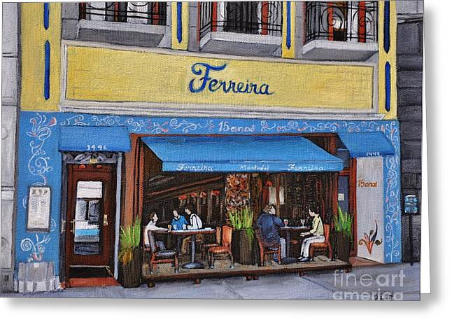 Montreal Art Greeting Cards - Ferreira Cafe  Greeting Card by Reb Frost
