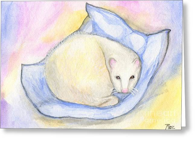White Ferret Greeting Cards - Ferrets Day Off Greeting Card by Roz Abellera Art