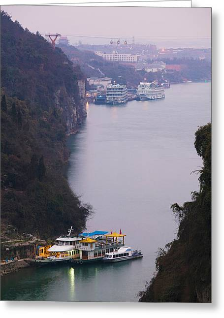 Ferries At Anchor, Yangtze River Greeting Card by Panoramic Images