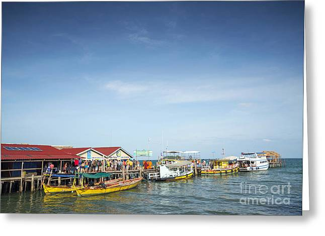 Paradise Pier Attraction Greeting Cards - Ferries At Koh Rong Island Pier In Cambodiaferries At Koh Rong I Greeting Card by Jacek Malipan
